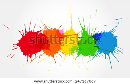 Colorful ink splashes. - stock vector