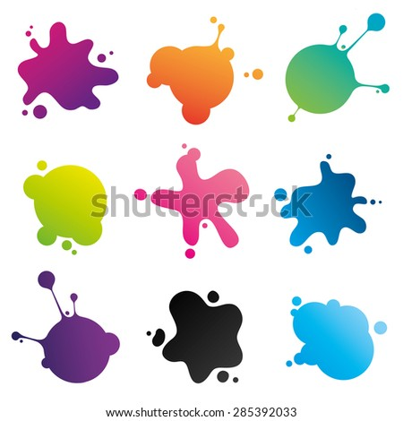 Colorful ink spots collection: set of stains different for shape and color isolated on white background. Vector image. - stock vector