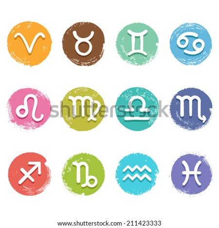 Colorful isolated vector horoscope icon set in grunge crayon style, white color astrology simbols - stock vector
