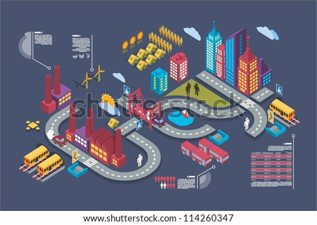 Colorful isometric city, vector background, city info graphics - stock vector