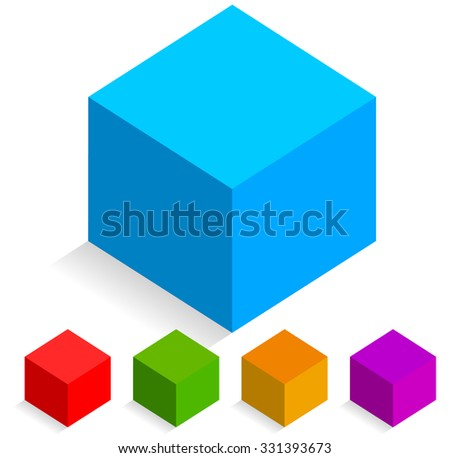 Colorful isometric cube cons isolated on white - stock vector