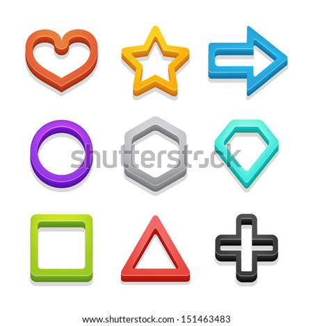 Colorful isometric shapes pack 2 isolated on white. Vector illustration.  - stock vector
