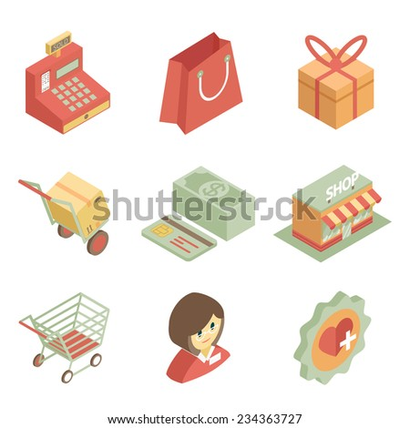 Colorful isometric shopping icons for store or supermarket on the white background - stock vector