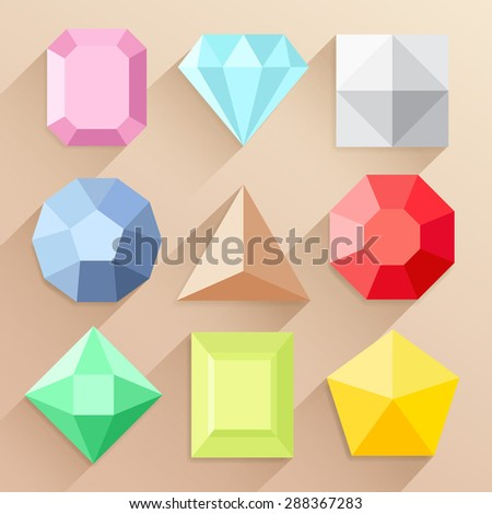 Colorful Jewel Shapes Collection : Vector Illustration - stock vector