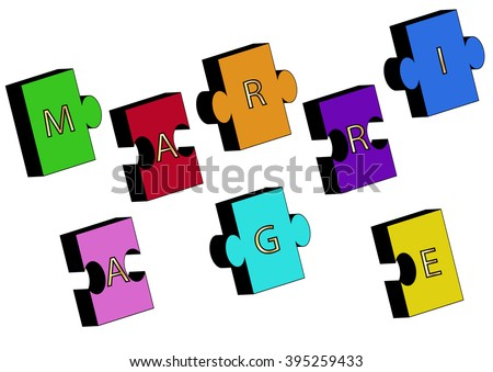 colorful jigsaw puzzle, marriage golden letters sign - stock vector