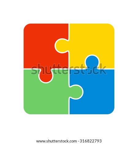 Colorful jigsaw puzzle vector, four pieces isolated - stock vector