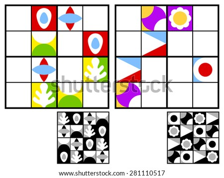 Colorful kids sudoku puzzle with multicolored geometric patterns in the squares in the grid for mental stimulation and entertainment with two variations and answers, vector design - stock vector