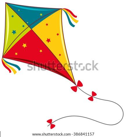 Colorful kite on white background illustration - stock vector