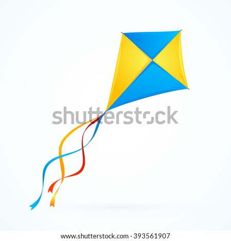 Colorful Kite on White Background. Toy Isolated. Vector illustration - stock vector