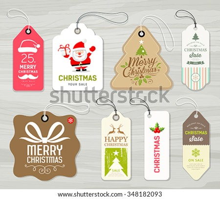 Colorful label paper merry christmas concept design on gray wood background vector illustration - stock vector