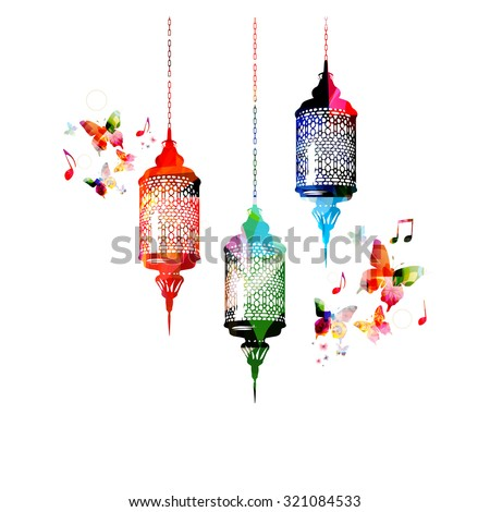 Colorful lamps for Ramadan with butterflies - stock vector