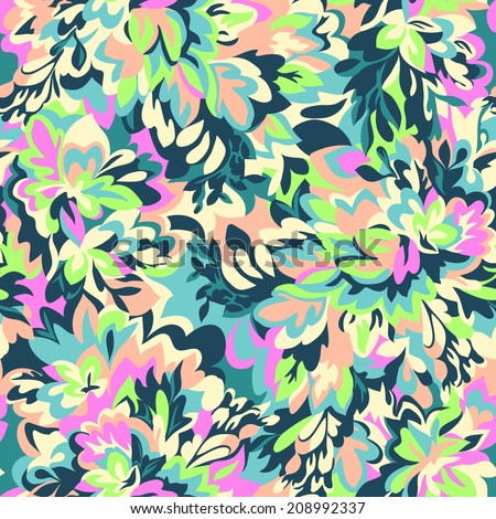 Colorful Leafy camouflage ~ seamless vector background - stock vector