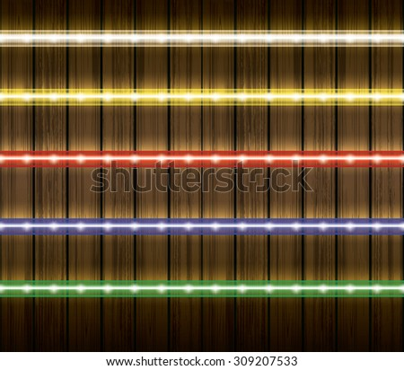 Colorful led light stripes, vector illustration set - stock vector