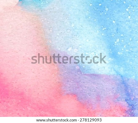 Colorful light watercolor blue pink violet orange hand drawn paper texture background. Wet brush painted smudges and stains abstract vector illustration. Artistic design card, banner, template, print - stock vector