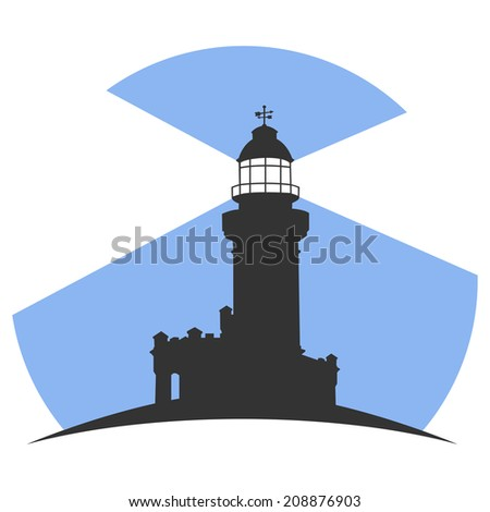 Colorful lighthouse symbols set isolated on white background for any navigation concept. - stock vector
