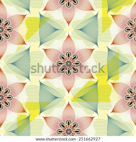 colorful linear floral seamless pattern background over white - stock vector
