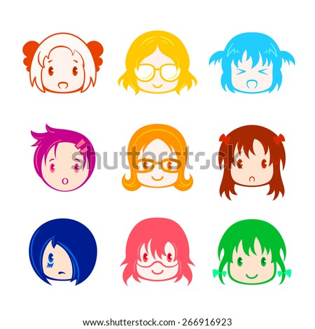Colorful little girl head icons in anime style - stock vector