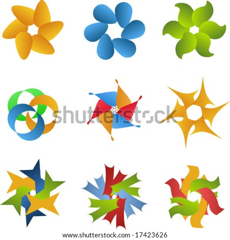 Colorful logo icon set - stock vector