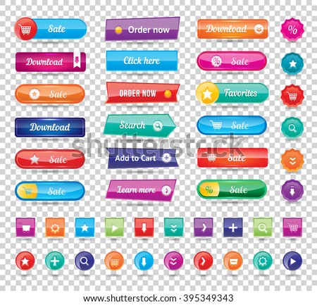 Colorful long round website buttons design vector illustration. Buttons glossy, website buttons graphic label and website buttons internet template banner. Website buttons menu reflection navigation. - stock vector