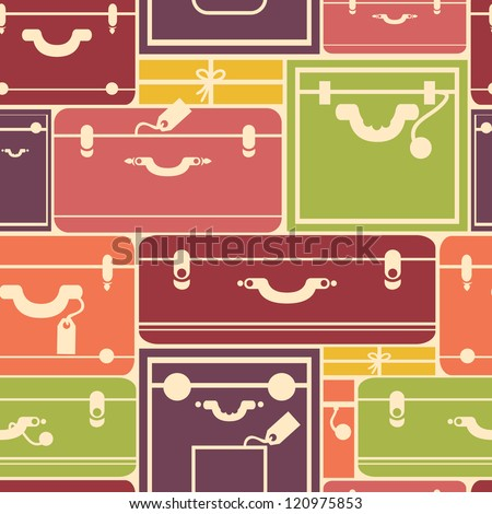 Colorful luggage seamless pattern background - stock vector