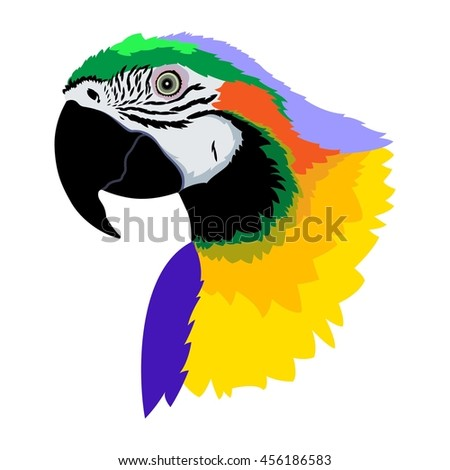 Colorful macaw parrot`s head  on white background. Vector illustration. - stock vector