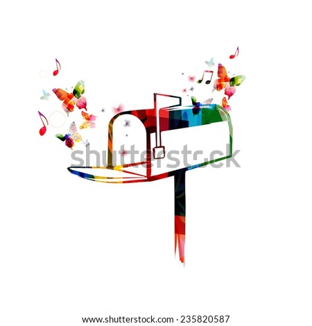Colorful mail box design with butterflies - stock vector