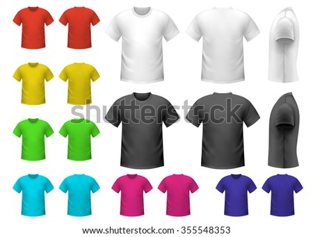 Colorful male t-shirts set isolated on white background - stock vector