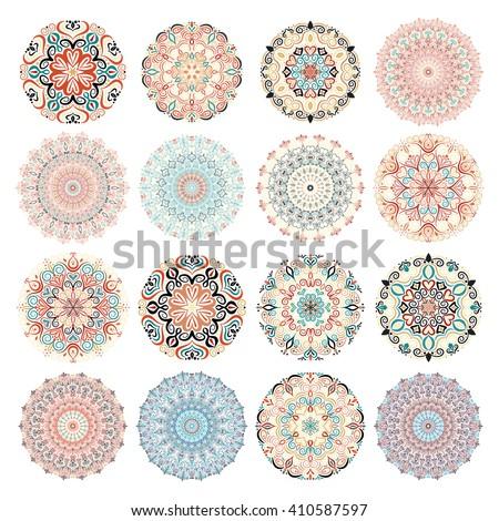 Colorful mandalas. Mandala vector, mandala art, mandala design, mandala pattern, mandala tattoo, mandala vector. Mandala flower, mandala print, isolated mandala, cute mandala, mandala floral, mandalas - stock vector