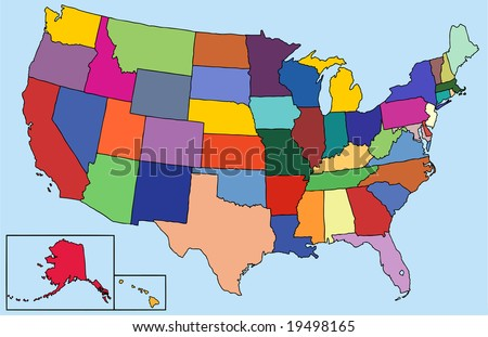 Colorful map for the USA - stock vector