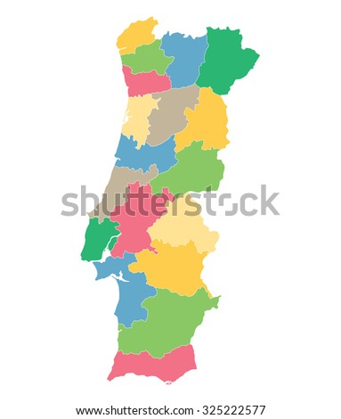colorful map of Portugal (districts on separate layers) - stock vector