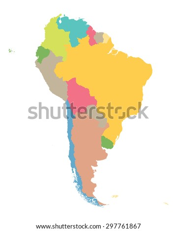 colorful map of South America - stock vector