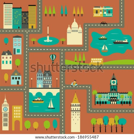Colorful  Map of the city. Vector illustration - stock vector