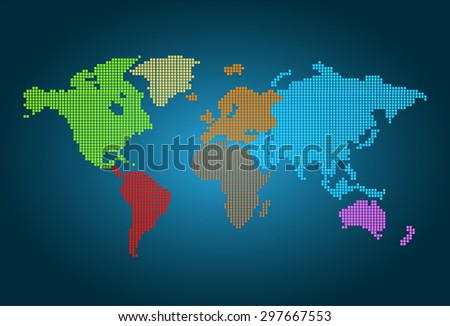 colorful map of the world pixel background. vector illustration. dot. table. square. Mosaic. ingographics. background for computer graphic website internet and technology. dark blue background. - stock vector
