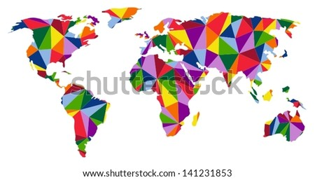 Colorful map of world - stock vector