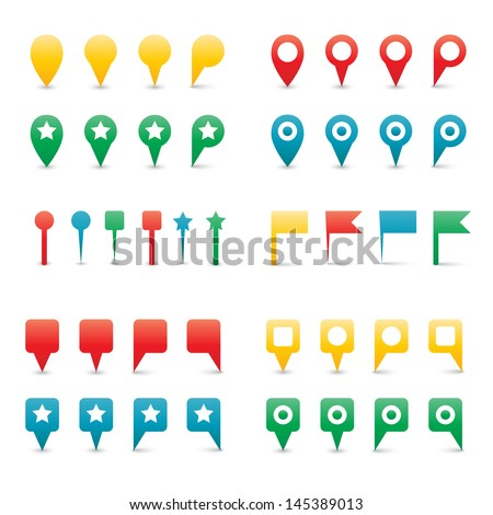 Colorful Map Pins. Isolated on White Vector Illustration. - stock vector