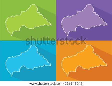 Colorful map silhouette with shadow - Central African Republic - stock vector