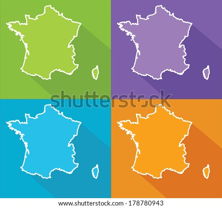 Colorful map silhouette with shadow - France - stock vector