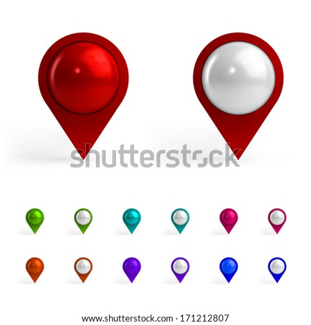 Colorful Map Tags - stock vector