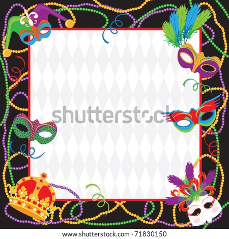 Colorful Mardi gras party invitation with copy space - stock vector