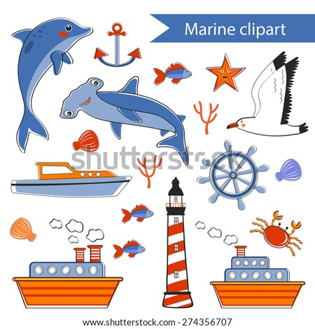 Colorful marine hand drawn clipart. vector illustration - stock vector