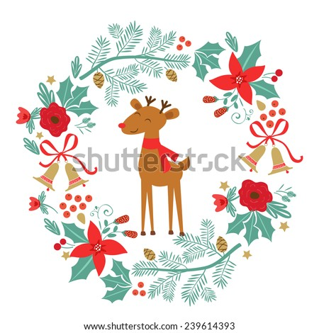 Colorful Merry Christmas composition with holiday elements laurel and raindeer - stock vector