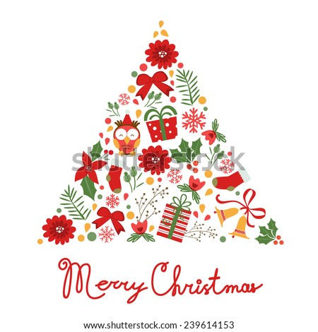 Colorful Merry Christmas tree shape with holiday elements . Vector illustration - stock vector