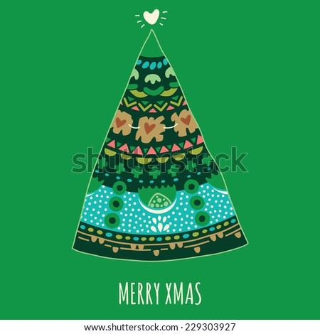 Colorful Merry Christmas tree with ornament. Xmas card - stock vector