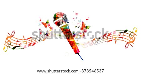 Colorful microphone design with butterflies - stock vector