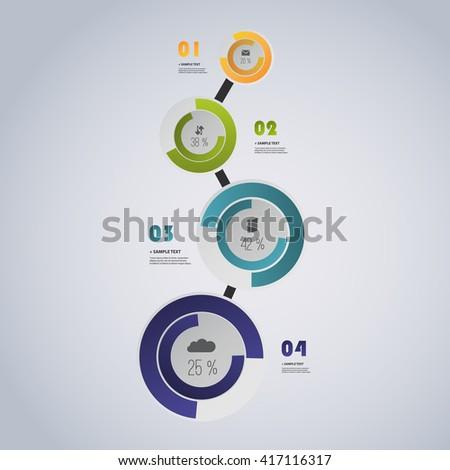 Colorful Minimal Paper Cut Infographics Design, Presentation Template - stock vector