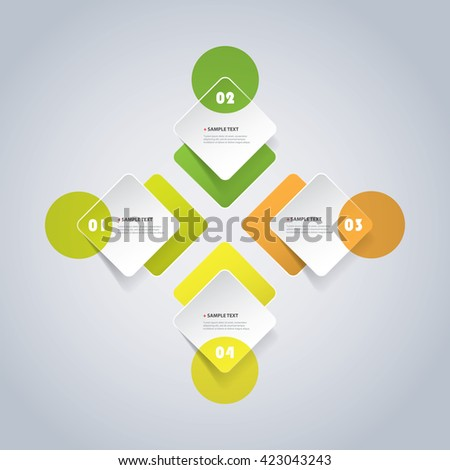 Colorful Minimal Paper Cut Infographics Design, Presentation Template - Rounded Squares - stock vector