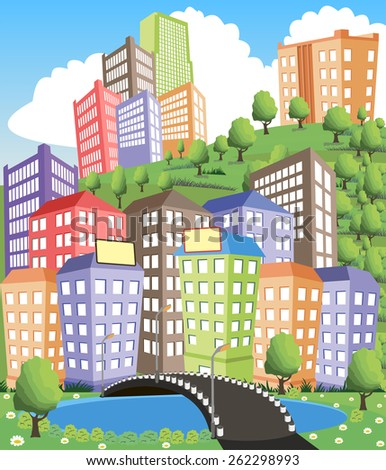 Colorful modern city illustration with road and pond - stock vector