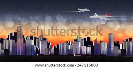 Colorful Modern City Skyline Landscape at Sunset with Planes -Vector Illustration - stock vector