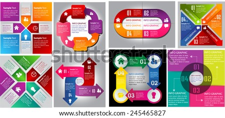 colorful modern cycle text box template for website computer graphic technology and internet, numbers. Set of color frames for text or quotes. brochure. many, various - stock vector