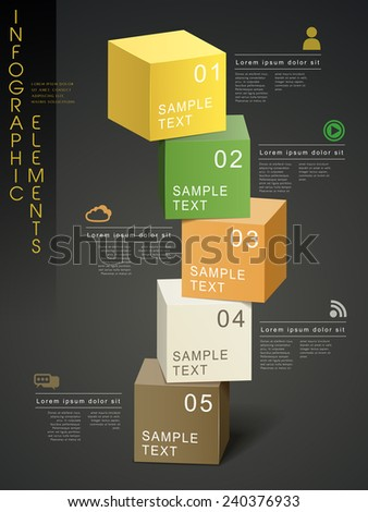 colorful modern infographic template design with cube elements  - stock vector